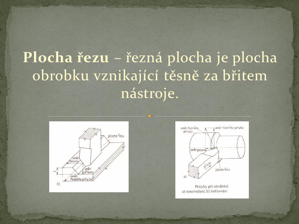 Plocha řezu – řezná plocha je plocha obrobku vznikající těsně za břitem nástroje.
