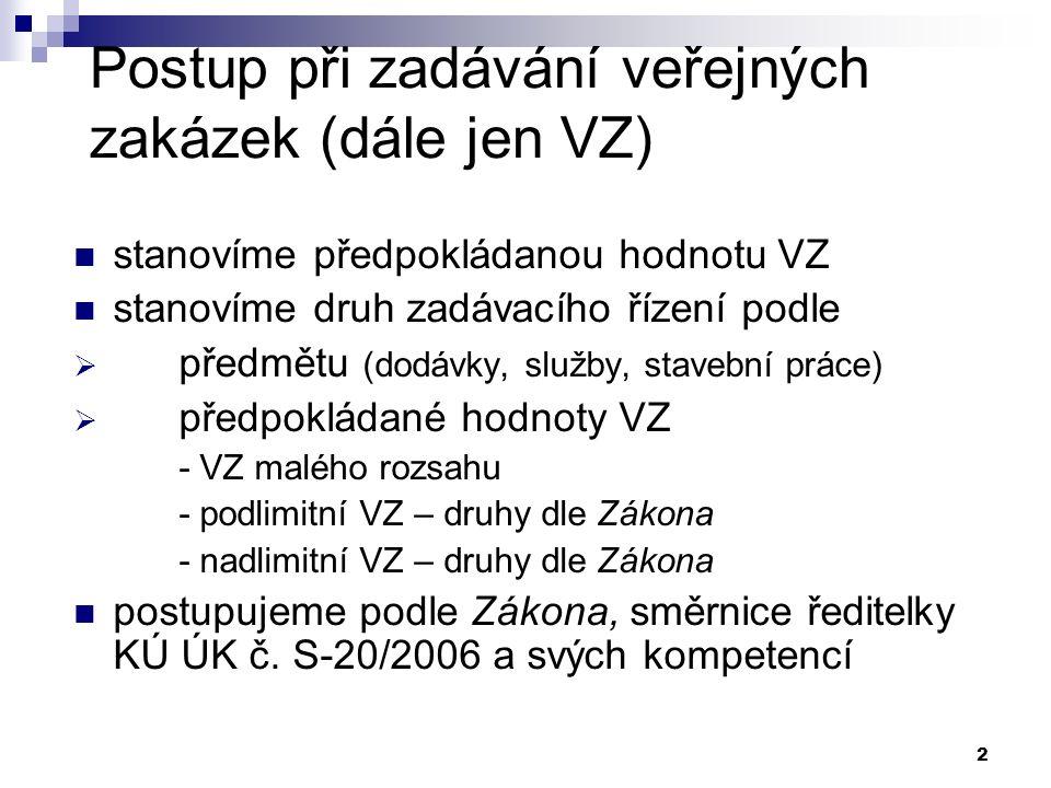 2 Postup při zadávání veřejných zakázek (dále jen VZ) stanovíme předpokládanou hodnotu VZ stanovíme druh zadávacího řízení podle  předmětu (dodávky,