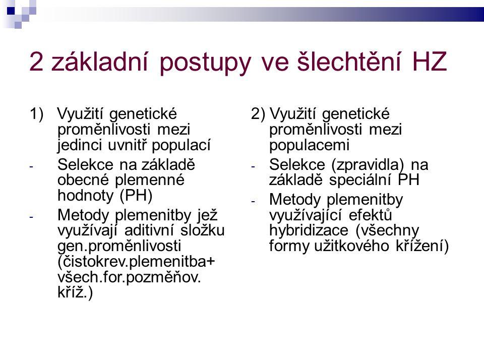2 základní postupy ve šlechtění HZ 1) Využití genetické proměnlivosti mezi jedinci uvnitř populací - Selekce na základě obecné plemenné hodnoty (PH) - Metody plemenitby jež využívají aditivní složku gen.proměnlivosti (čistokrev.plemenitba+ všech.for.pozměňov.