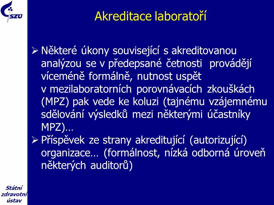 Státní zdravotní ústav Akreditace laboratoří  Některé úkony související s akreditovanou analýzou se v předepsané četnosti provádějí víceméně formálně, nutnost uspět v mezilaboratorních porovnávacích zkouškách (MPZ) pak vede ke koluzi (tajnému vzájemnému sdělování výsledků mezi některými účastníky MPZ)…  Příspěvek ze strany akreditující (autorizující) organizace… (formálnost, nízká odborná úroveň některých auditorů)