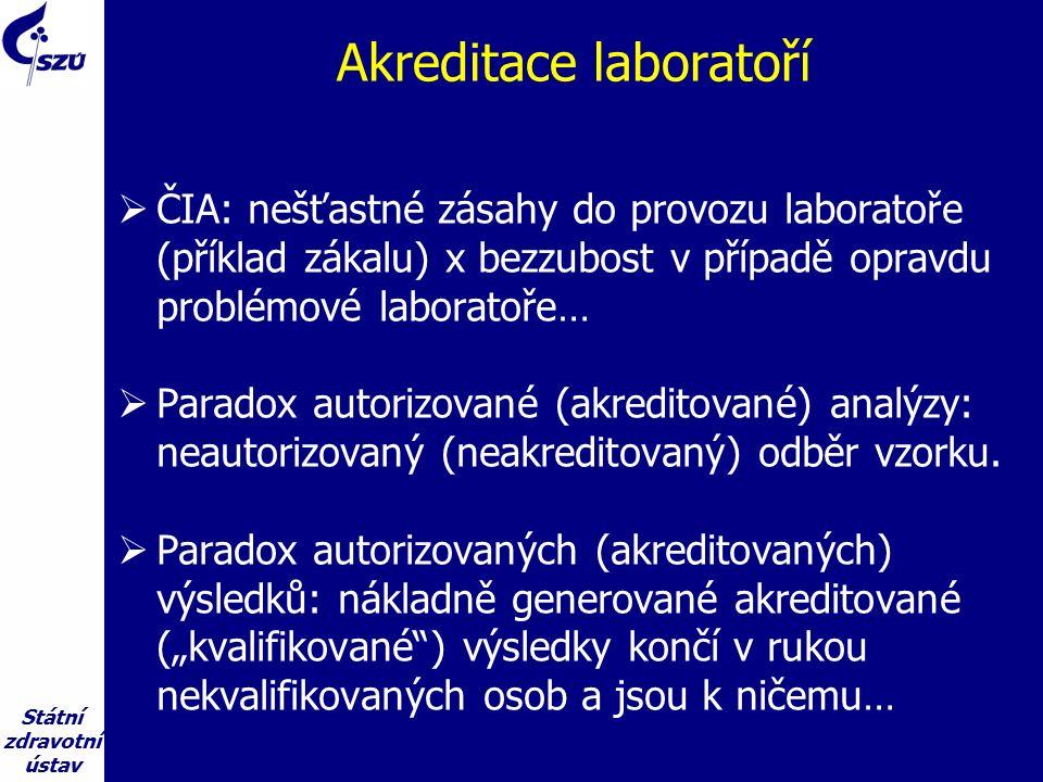 Státní zdravotní ústav Akreditace laboratoří  ČIA: nešťastné zásahy do provozu laboratoře (příklad zákalu) x bezzubost v případě opravdu problémové laboratoře…  Paradox autorizované (akreditované) analýzy: neautorizovaný (neakreditovaný) odběr vzorku.