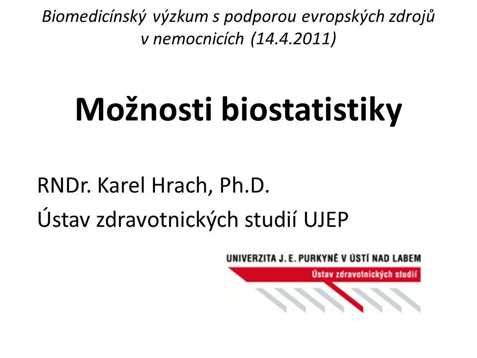 Možnosti biostatistiky RNDr. Karel Hrach, Ph.D. Ústav zdravotnických studií UJEP Biomedicínský výzkum s podporou evropských zdrojů v nemocnicích (14.4