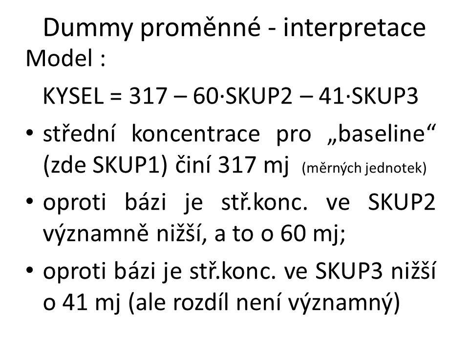 """Dummy proměnné - interpretace Model : KYSEL = 317 – 60·SKUP2 – 41·SKUP3 střední koncentrace pro """"baseline"""" (zde SKUP1) činí 317 mj (měrných jednotek)"""