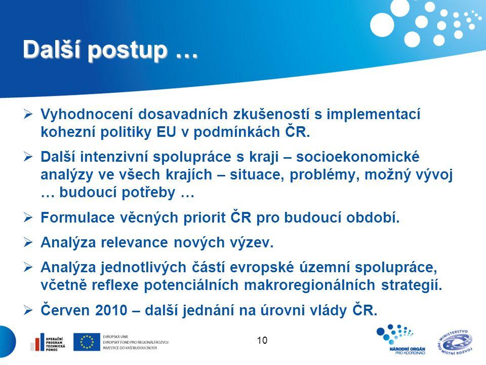 10 Další postup …  Vyhodnocení dosavadních zkušeností s implementací kohezní politiky EU v podmínkách ČR.