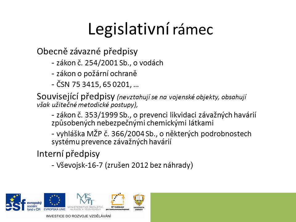 Legislativní rámec Obecně závazné předpisy - zákon č. 254/2001 Sb., o vodách - zákon o požární ochraně - ČSN 75 3415, 65 0201, … Související předpisy