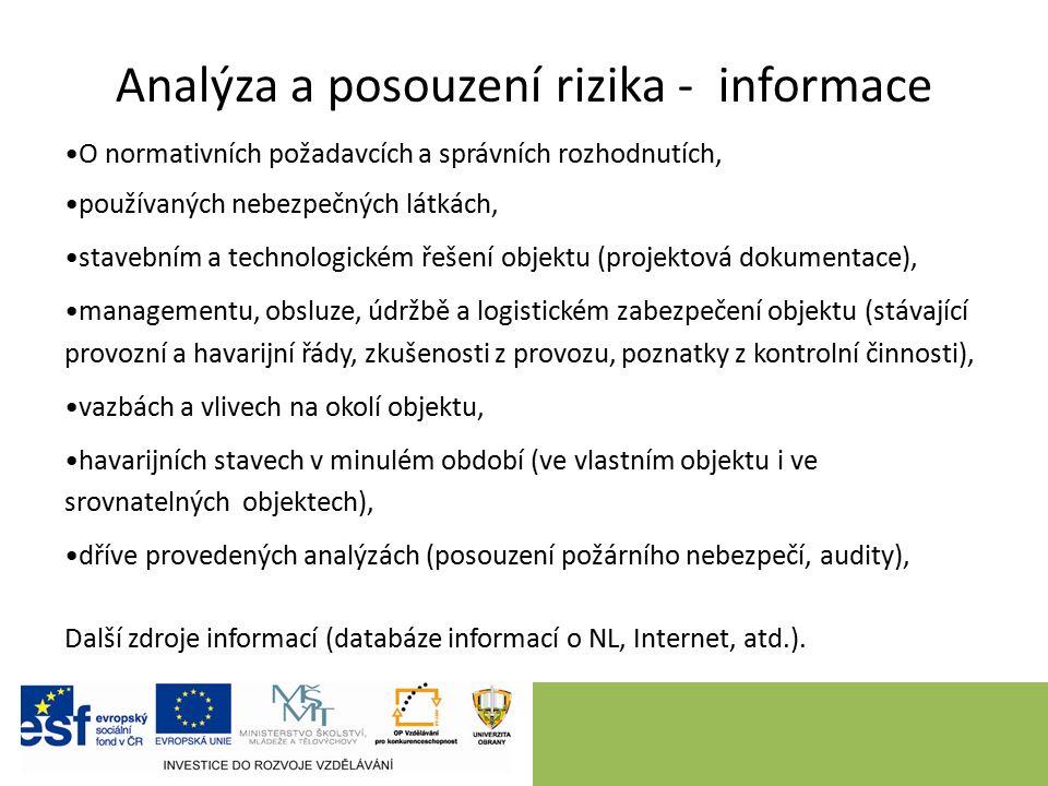 Analýza a posouzení rizika - informace O normativních požadavcích a správních rozhodnutích, používaných nebezpečných látkách, stavebním a technologick