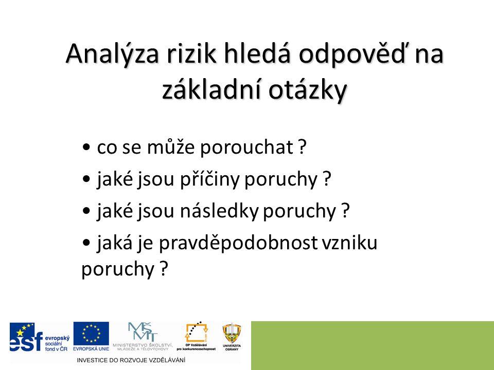 Analýza rizik hledá odpověď na základní otázky co se může porouchat ? jaké jsou příčiny poruchy ? jaké jsou následky poruchy ? jaká je pravděpodobnost