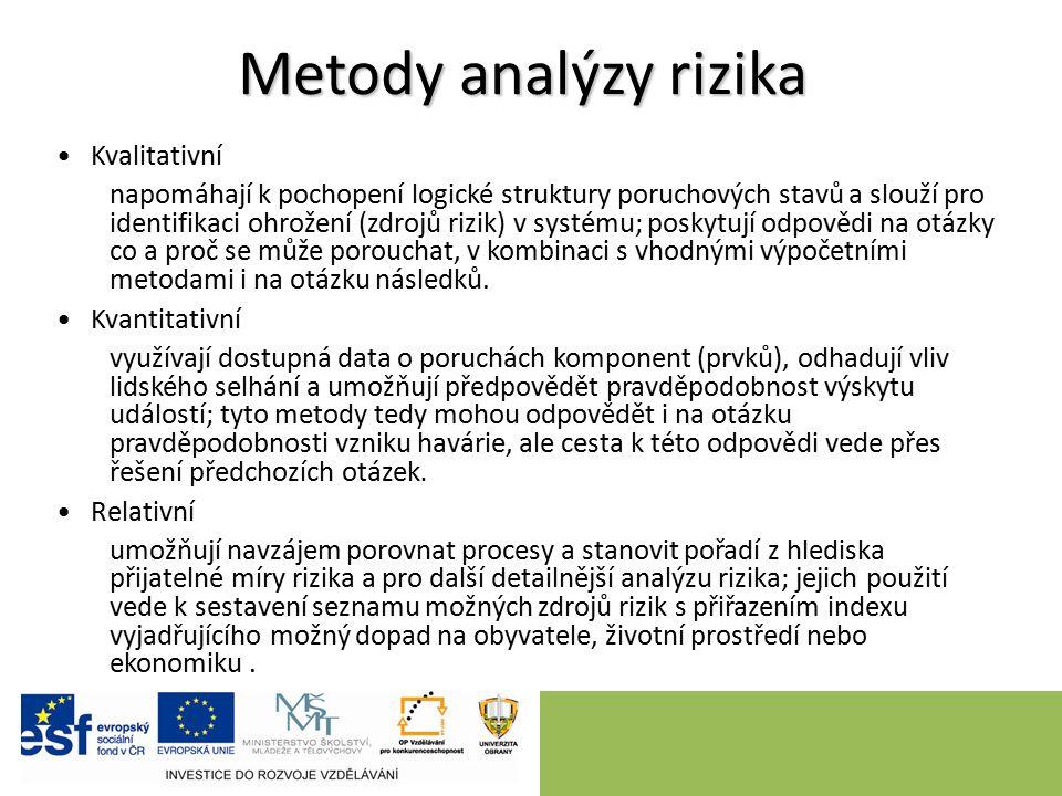 Metody analýzy rizika Kvalitativní napomáhají k pochopení logické struktury poruchových stavů a slouží pro identifikaci ohrožení (zdrojů rizik) v systému; poskytují odpovědi na otázky co a proč se může porouchat, v kombinaci s vhodnými výpočetními metodami i na otázku následků.