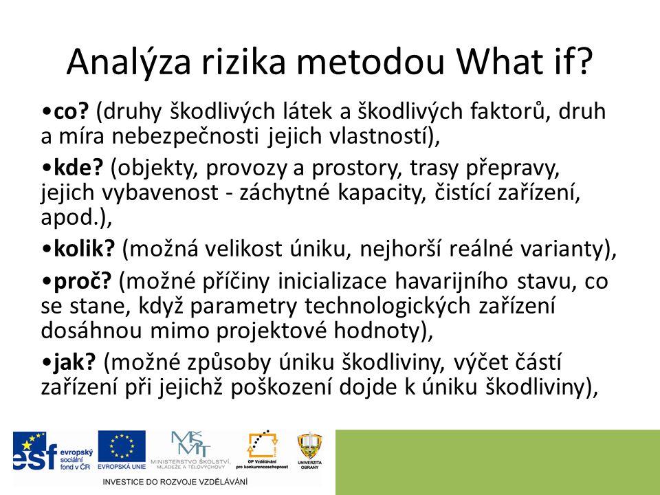 Analýza rizika metodou What if? co? (druhy škodlivých látek a škodlivých faktorů, druh a míra nebezpečnosti jejich vlastností), kde? (objekty, provozy