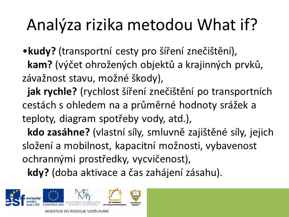 Analýza rizika metodou What if? kudy? (transportní cesty pro šíření znečištění), kam? (výčet ohrožených objektů a krajinných prvků, závažnost stavu, m