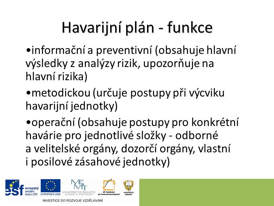 Havarijní plán - funkce informační a preventivní (obsahuje hlavní výsledky z analýzy rizik, upozorňuje na hlavní rizika) metodickou (určuje postupy př
