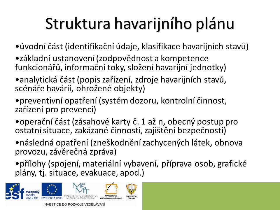 Struktura havarijního plánu úvodní část (identifikační údaje, klasifikace havarijních stavů) základní ustanovení (zodpovědnost a kompetence funkcionář