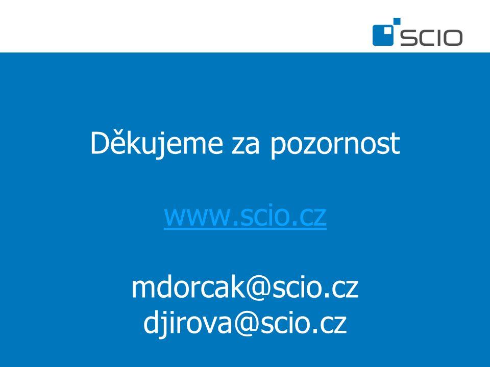 Děkujeme za pozornost www.scio.cz mdorcak@scio.cz djirova@scio.cz www.scio.cz