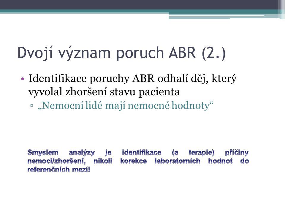 """Dvojí význam poruch ABR (2.) Identifikace poruchy ABR odhalí děj, který vyvolal zhoršení stavu pacienta ▫""""Nemocní lidé mají nemocné hodnoty"""