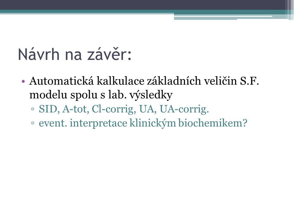 Návrh na závěr: Automatická kalkulace základních veličin S.F.