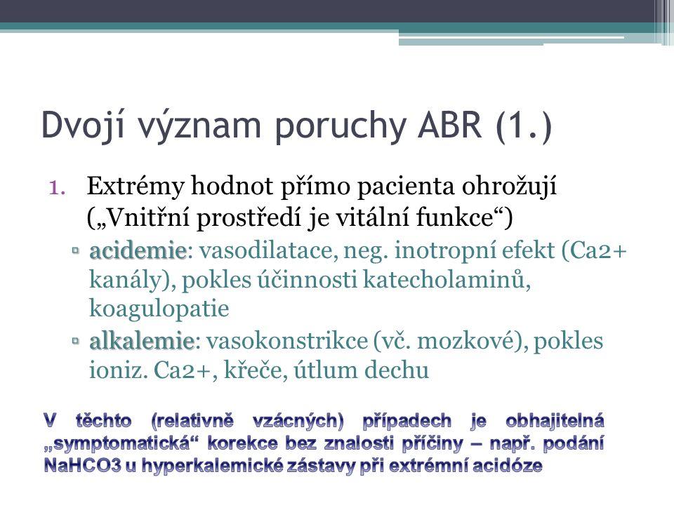 """Dvojí význam poruchy ABR (1.) 1.Extrémy hodnot přímo pacienta ohrožují (""""Vnitřní prostředí je vitální funkce ) ▫acidemie ▫acidemie: vasodilatace, neg."""