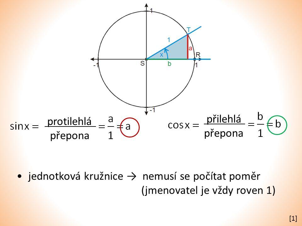 přilehlá přepona protilehlá přepona jednotková kružnice → nemusí se počítat poměr (jmenovatel je vždy roven 1) [1][1]