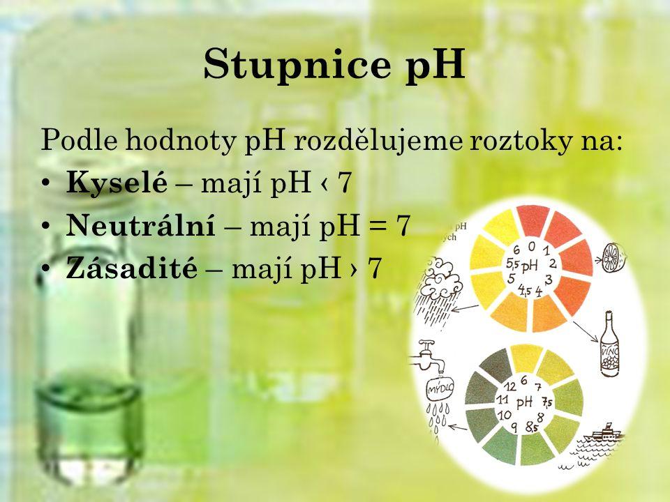 Stupnice pH Podle hodnoty pH rozdělujeme roztoky na: Kyselé – mají pH ‹ 7 Neutrální – mají pH = 7 Zásadité – mají pH › 7