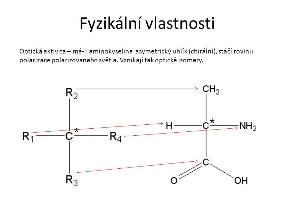 Fyzikální vlastnosti Optická aktivita – má-li aminokyselina asymetrický uhlík (chirální), stáčí rovinu polarizace polarizovaného světla. Vznikají tak