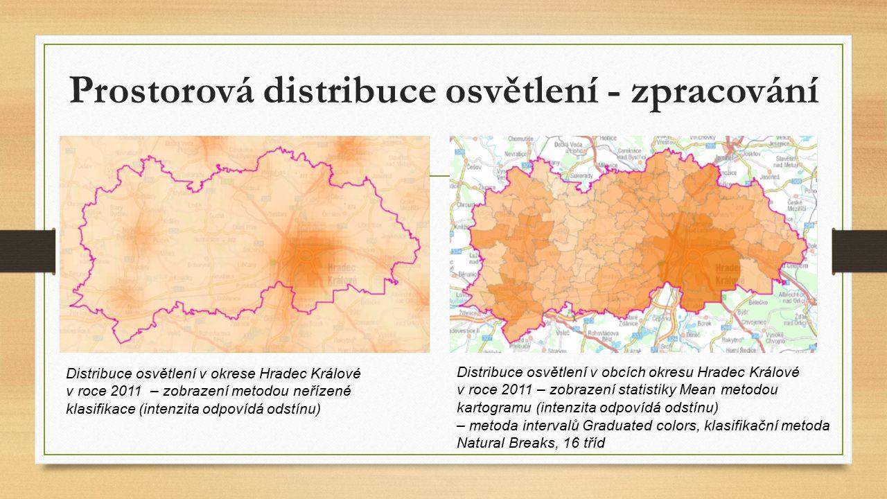 Prostorová distribuce osvětlení - zpracování Distribuce osvětlení v okrese Hradec Králové v roce 2011 – zobrazení metodou neřízené klasifikace (intenzita odpovídá odstínu) Distribuce osvětlení v obcích okresu Hradec Králové v roce 2011 – zobrazení statistiky Mean metodou kartogramu (intenzita odpovídá odstínu) – metoda intervalů Graduated colors, klasifikační metoda Natural Breaks, 16 tříd