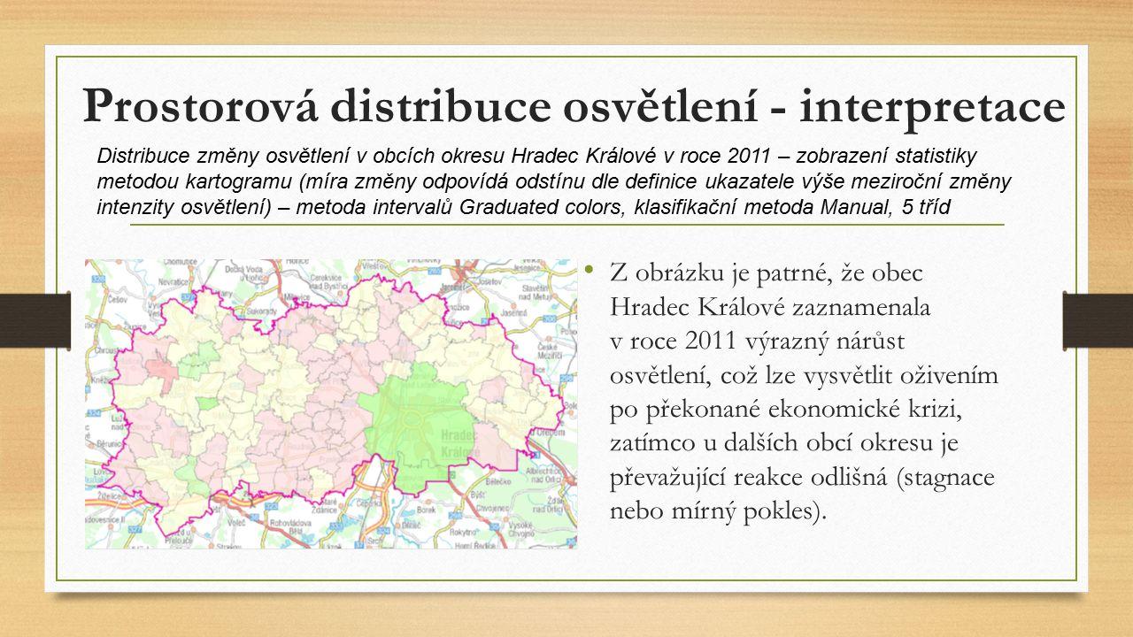 Prostorová distribuce osvětlení - interpretace Z obrázku je patrné, že obec Hradec Králové zaznamenala v roce 2011 výrazný nárůst osvětlení, což lze vysvětlit oživením po překonané ekonomické krizi, zatímco u dalších obcí okresu je převažující reakce odlišná (stagnace nebo mírný pokles).