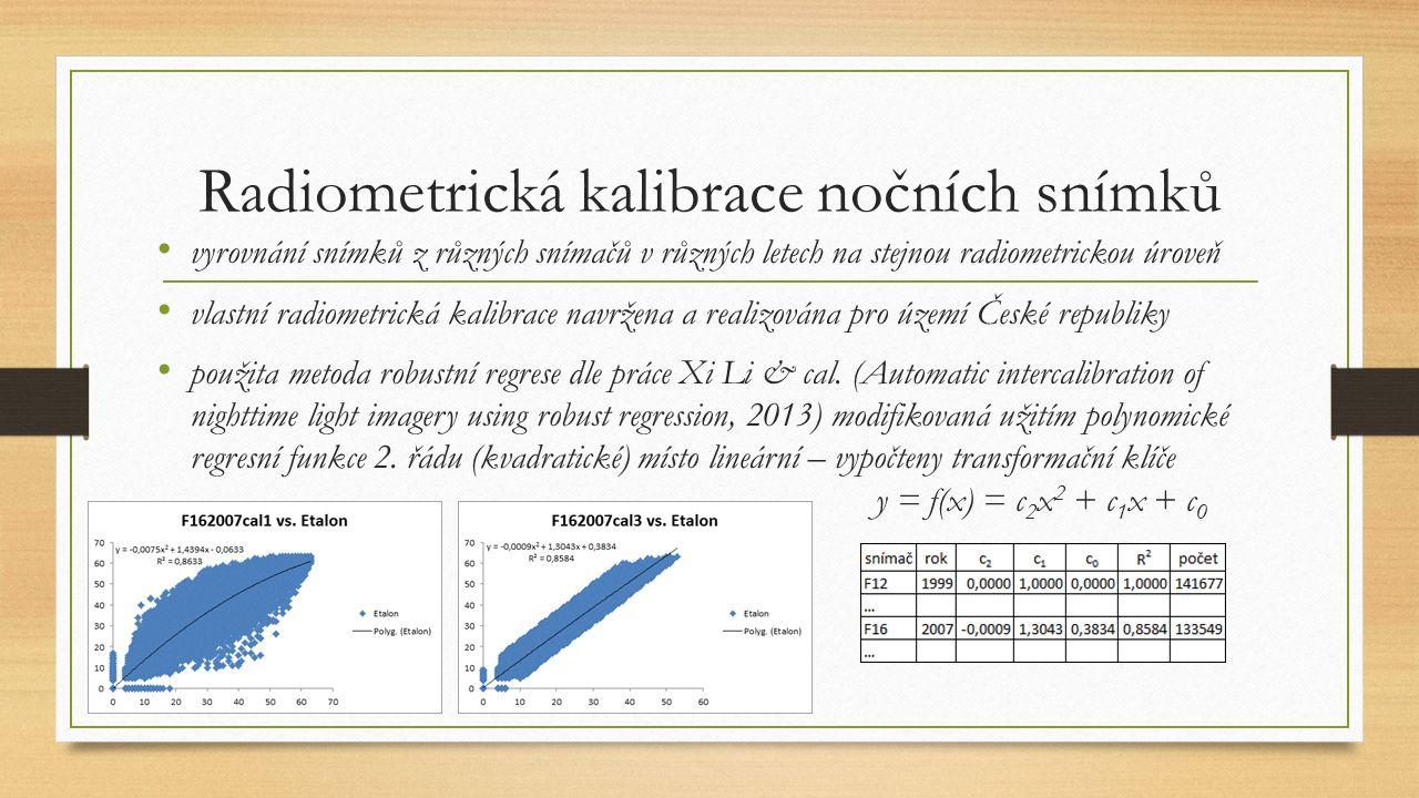 Radiometrická kalibrace nočních snímků vyrovnání snímků z různých snímačů v různých letech na stejnou radiometrickou úroveň vlastní radiometrická kalibrace navržena a realizována pro území České republiky použita metoda robustní regrese dle práce Xi Li & cal.