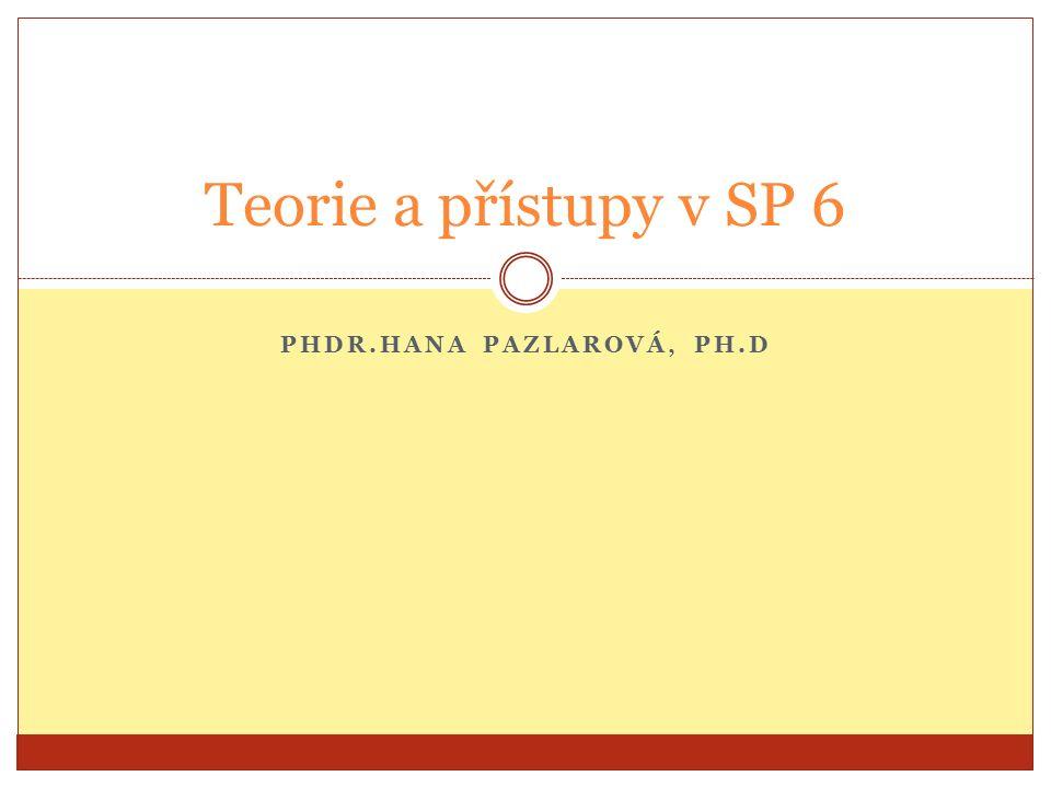 PHDR.HANA PAZLAROVÁ, PH.D Teorie a přístupy v SP 6