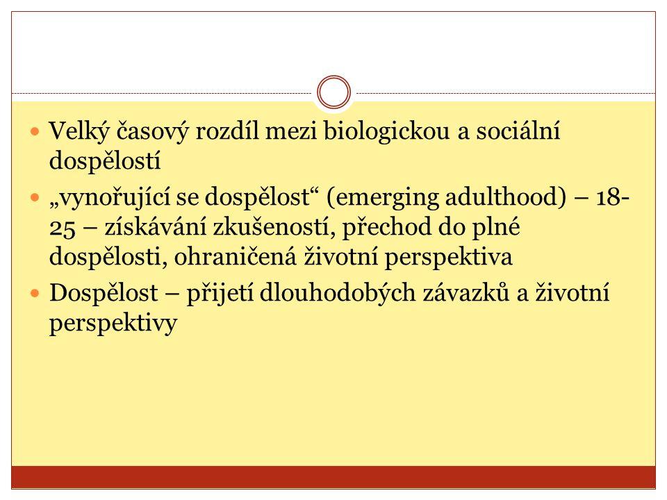 """Velký časový rozdíl mezi biologickou a sociální dospělostí """"vynořující se dospělost"""" (emerging adulthood) – 18- 25 – získávání zkušeností, přechod do"""