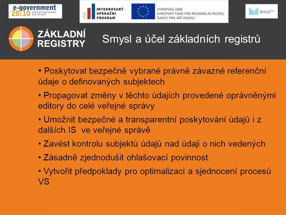 Smysl a účel základních registrů Poskytovat bezpečně vybrané právně závazné referenční údaje o definovaných subjektech Propagovat změny v těchto údajích provedené oprávněnými editory do celé veřejné správy Umožnit bezpečné a transparentní poskytování údajů i z dalších IS ve veřejné správě Zavést kontrolu subjektů údajů nad údaji o nich vedených Zásadně zjednodušit ohlašovací povinnost Vytvořit předpoklady pro optimalizaci a sjednocení procesů VS