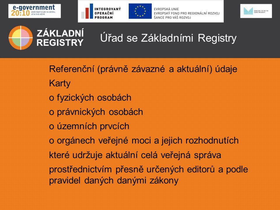 Úřad se Základními Registry Referenční (právně závazné a aktuální) údaje Karty o fyzických osobách o právnických osobách o územních prvcích o orgánech veřejné moci a jejich rozhodnutích které udržuje aktuální celá veřejná správa prostřednictvím přesně určených editorů a podle pravidel daných danými zákony