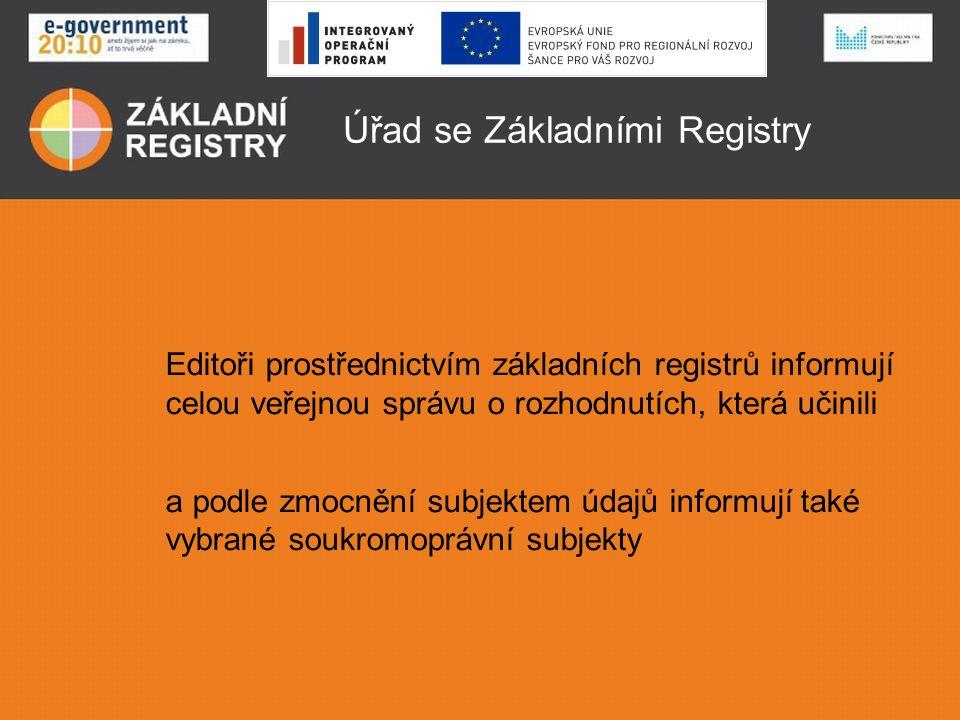 Úřad se Základními Registry Editoři prostřednictvím základních registrů informují celou veřejnou správu o rozhodnutích, která učinili a podle zmocnění subjektem údajů informují také vybrané soukromoprávní subjekty