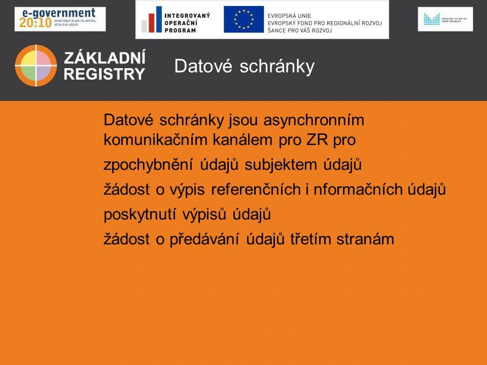 Datové schránky Datové schránky jsou asynchronním komunikačním kanálem pro ZR pro zpochybnění údajů subjektem údajů žádost o výpis referenčních i nformačních údajů poskytnutí výpisů údajů žádost o předávání údajů třetím stranám