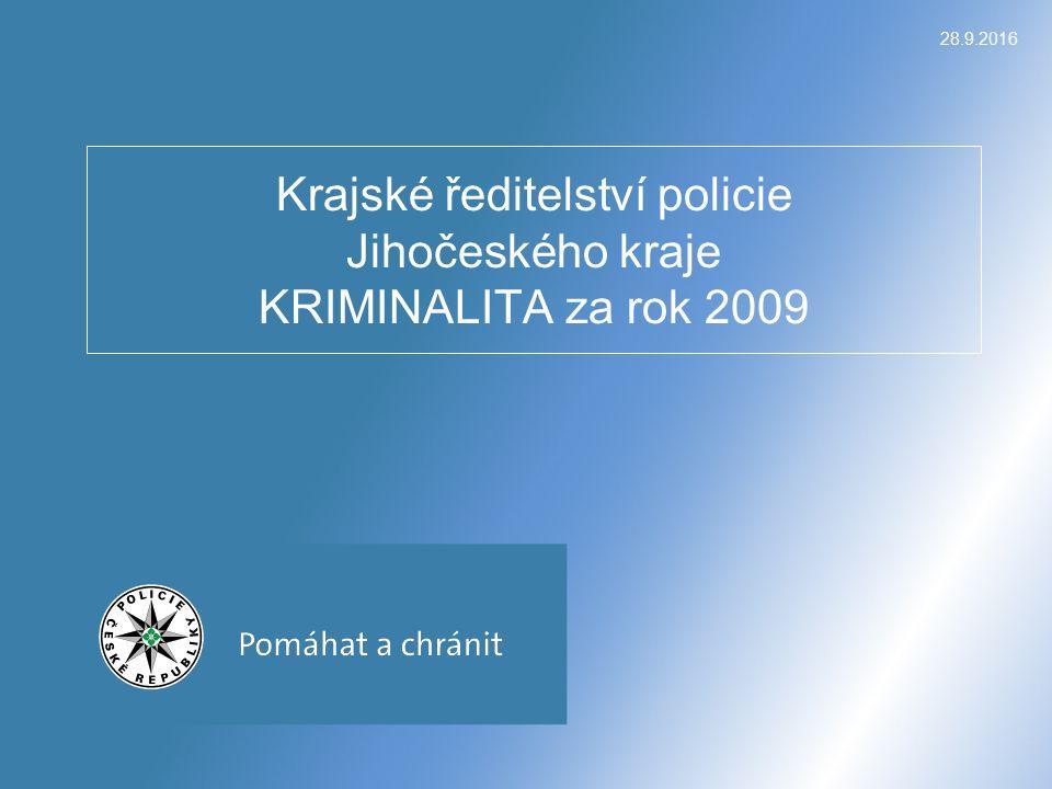 28.9.2016 Krajské ředitelství policie Jihočeského kraje KRIMINALITA za rok 2009