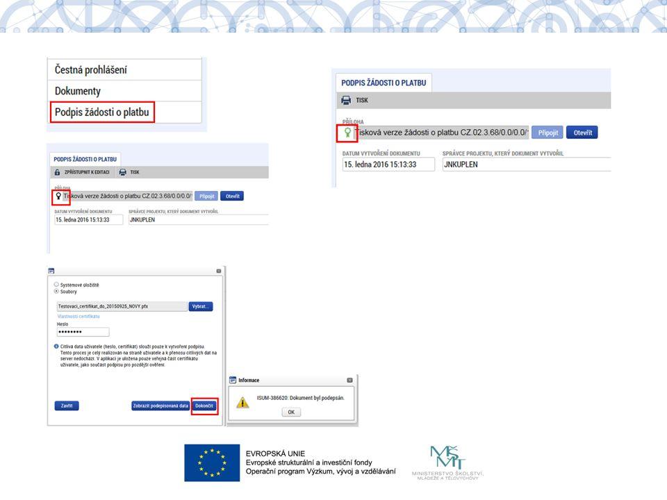 1.stav ŽoP po podepsání ŽoP 2. stav ZoR po podepsání ZoR 3.