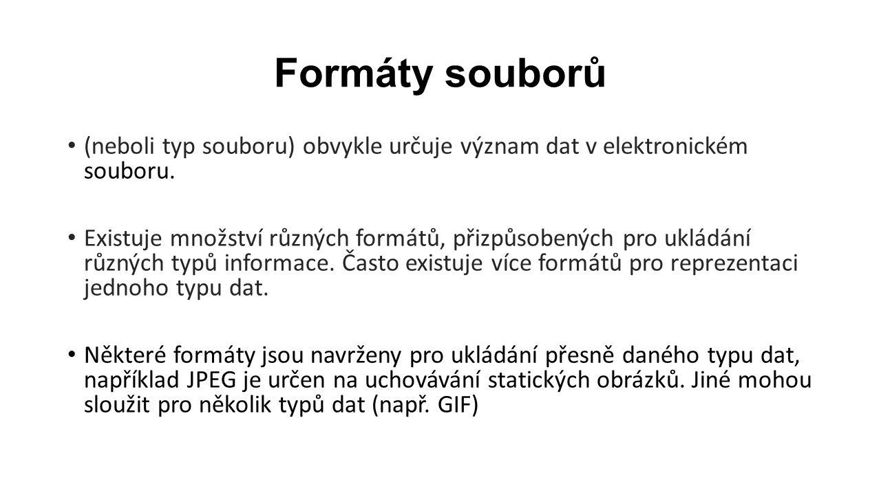 Formáty souborů (neboli typ souboru) obvykle určuje význam dat v elektronickém souboru.