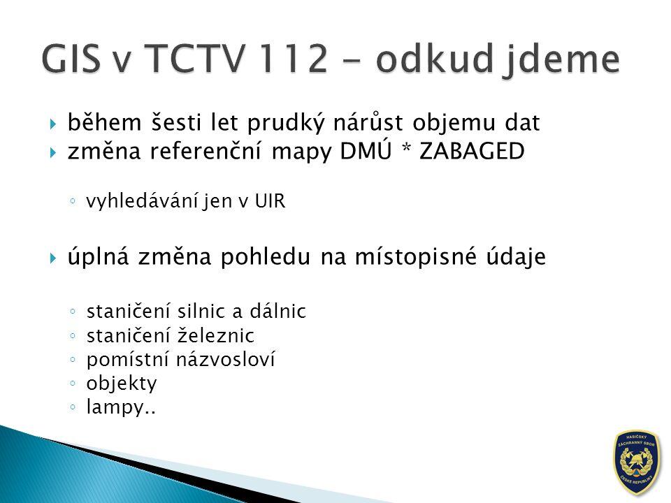 """ zastaralá technologie, nekorespondující se zvýšenými nároky na data ◦ optimalizace a výkon koncových aplikací  částečná nespokojenost operátorů s: ◦ obsahem """"map ◦ odezvou mapového klienta ◦ periodou aktualizace dat v systému TCTV 112"""