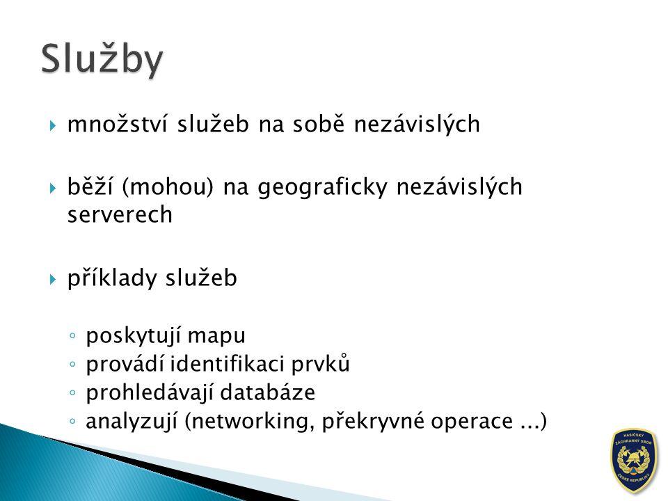  množství služeb na sobě nezávislých  běží (mohou) na geograficky nezávislých serverech  příklady služeb ◦ poskytují mapu ◦ provádí identifikaci prvků ◦ prohledávají databáze ◦ analyzují (networking, překryvné operace...)