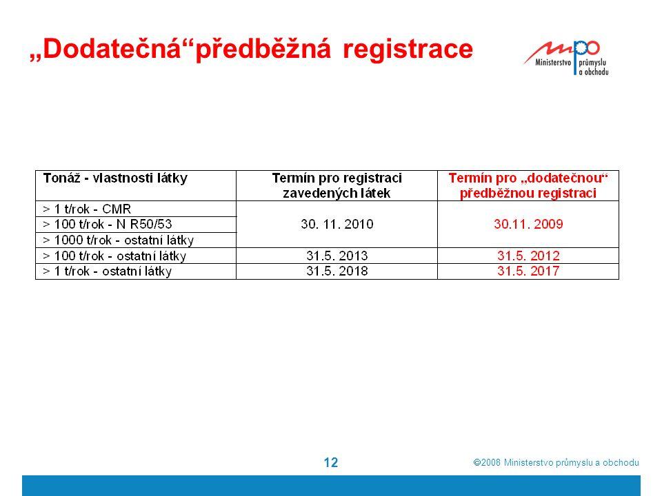 """ 2008  Ministerstvo průmyslu a obchodu 12 """"Dodatečná předběžná registrace"""