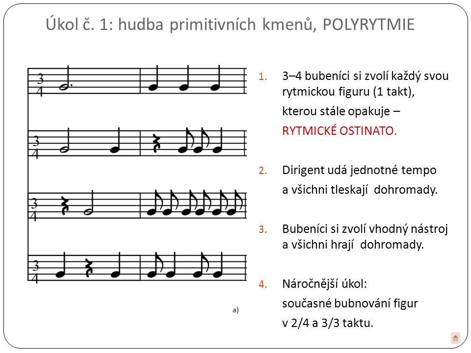 Úkol č.1: hudba primitivních kmenů, POLYRYTMIE 1.