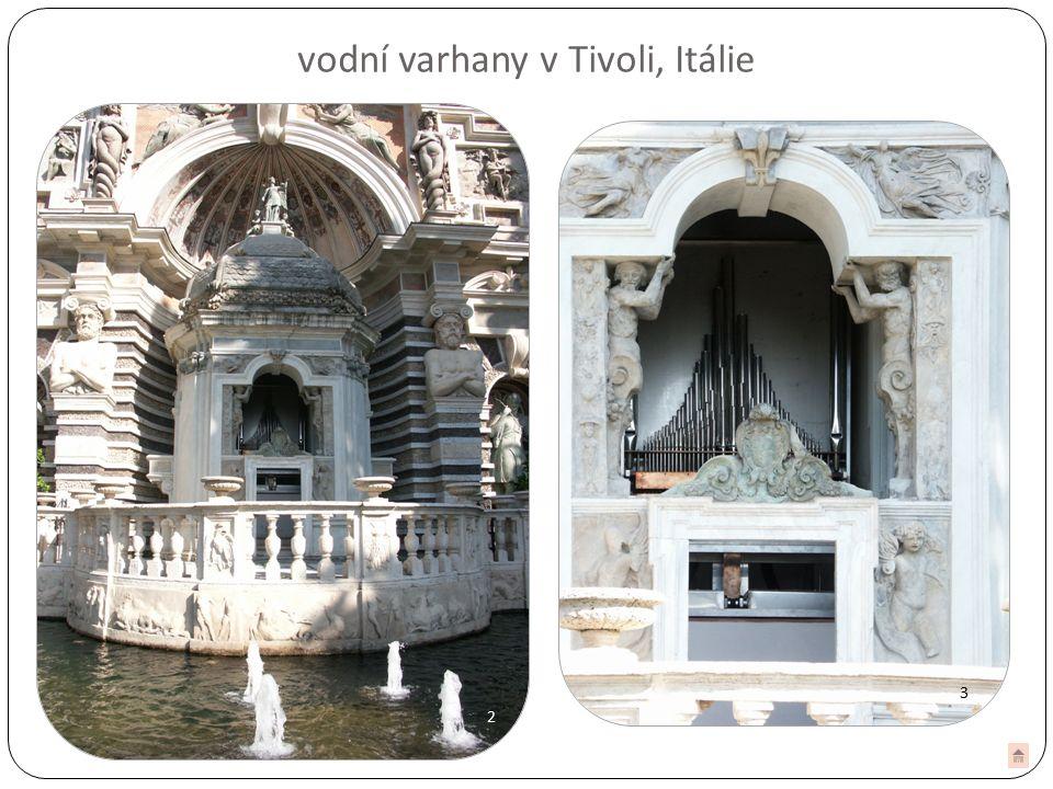 33 2 vodní varhany v Tivoli, Itálie