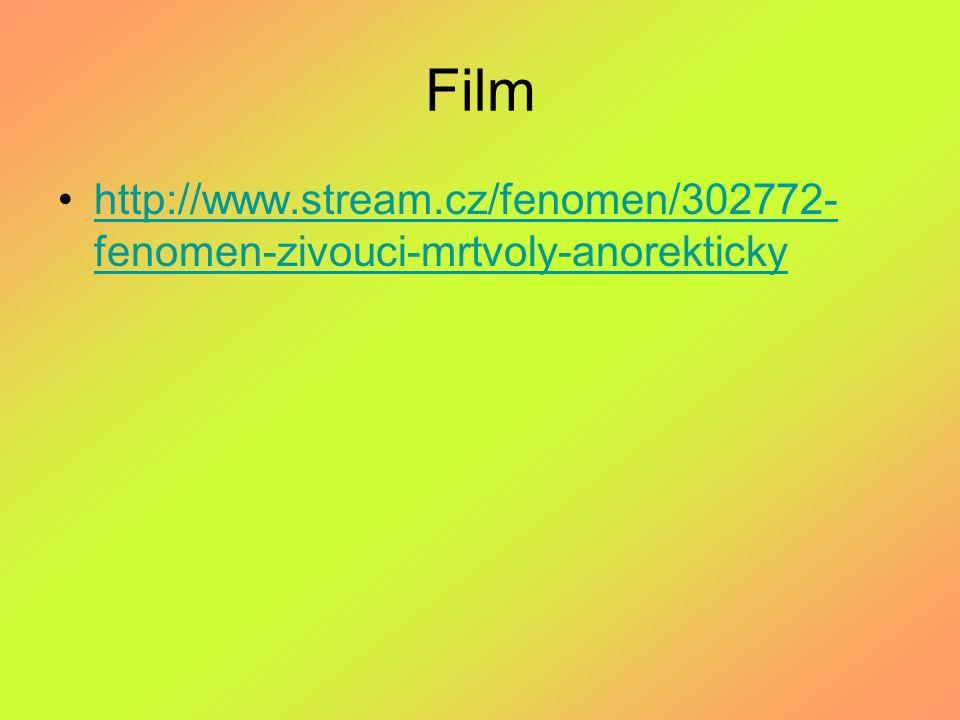 Film http://www.stream.cz/fenomen/302772- fenomen-zivouci-mrtvoly-anorektickyhttp://www.stream.cz/fenomen/302772- fenomen-zivouci-mrtvoly-anorekticky