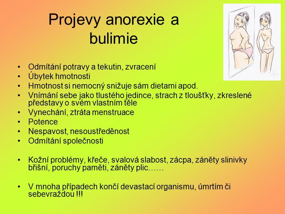 Projevy anorexie a bulimie Odmítání potravy a tekutin, zvracení Úbytek hmotnosti Hmotnost si nemocný snižuje sám dietami apod. Vnímání sebe jako tlust