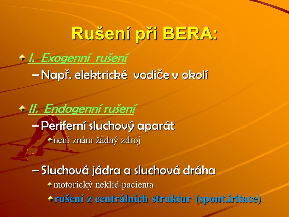 Rušení při BERA: I. Exogenní rušení –Nap ř. elektrické vodi č e v okolí II. Endogenní rušení –Periferní sluchový aparát není znám žádný zdroj –Sluchov