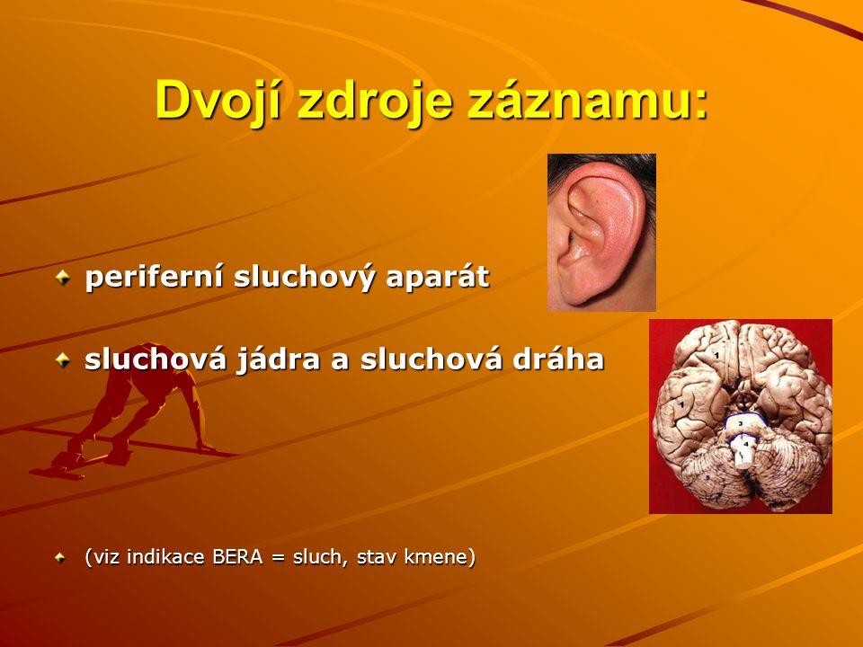 Dvojí zdroje záznamu: periferní sluchový aparát sluchová jádra a sluchová dráha (viz indikace BERA = sluch, stav kmene)