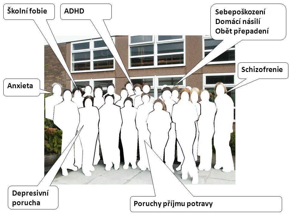 Sebepoškození Domácí násilí Obět přepadení Poruchy příjmu potravy Školní fobie Schizofrenie Depresivní porucha Anxieta ADHD