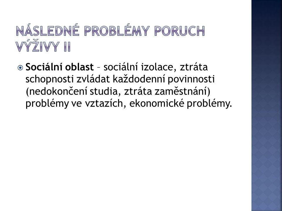  Sociální oblast – sociální izolace, ztráta schopnosti zvládat každodenní povinnosti (nedokončení studia, ztráta zaměstnání) problémy ve vztazích, ekonomické problémy.