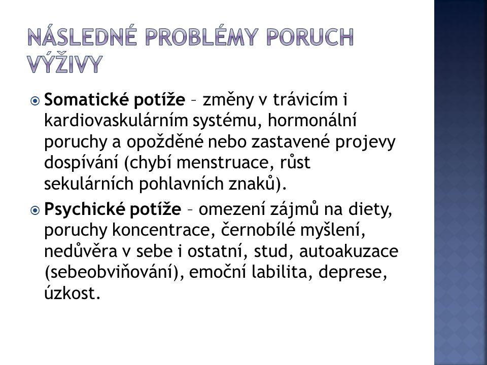  Somatické potíže – změny v trávicím i kardiovaskulárním systému, hormonální poruchy a opožděné nebo zastavené projevy dospívání (chybí menstruace, růst sekulárních pohlavních znaků).