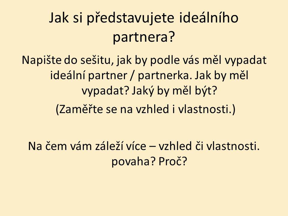Jak si představujete ideálního partnera.