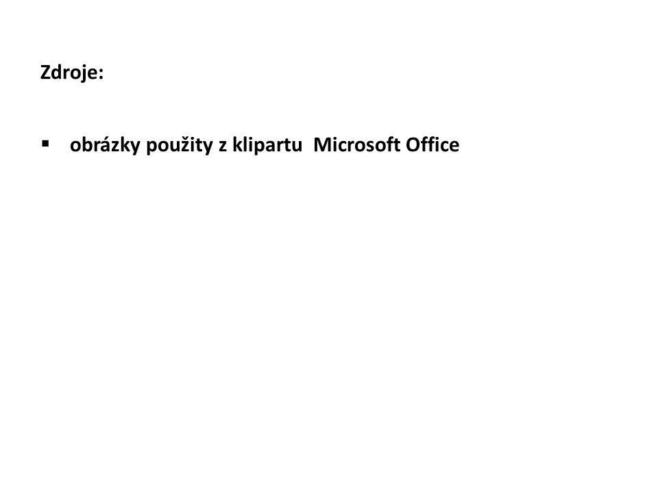 Zdroje:  obrázky použity z klipartu Microsoft Office