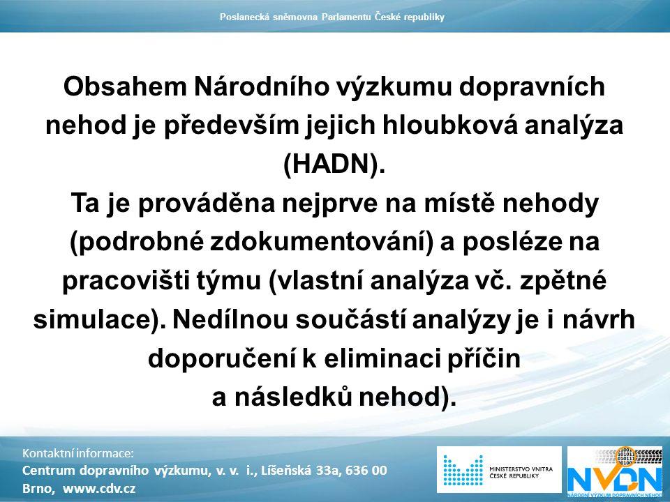 Obsahem Národního výzkumu dopravních nehod je především jejich hloubková analýza (HADN). Ta je prováděna nejprve na místě nehody (podrobné zdokumentov